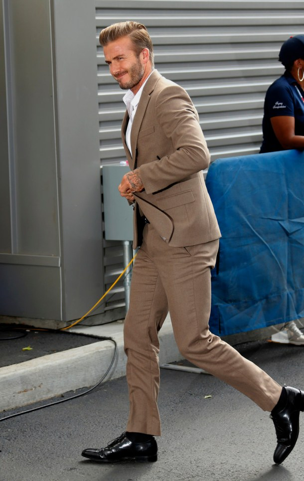 NEW YORK, NY - SEPTEMBER 13: David Beckham arrives at the Men's Final on day fourteen of the 2015 US Open at USTA Billie Jean King National Tennis Center on September 13, 2015 in the Flushing neighborhood of the Queens borough of New York City. (Photo by Jean Catuffe/GC Images)