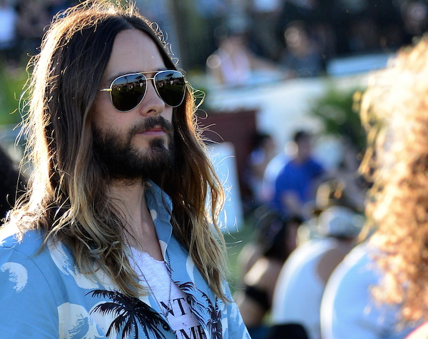 Jared Leto fits in very well with his hippie jesus look on Day 1 of the Coachella Music Festival in Indio, CA. Pictured: Jared Leto Ref: SPL737523 120414 Picture by: GoldenEye / London Entertainment / Splash News Splash News and Pictures Los Angeles:310-821-2666 New York: 212-619-2666 London: 870-934-2666 photodesk@splashnews.com