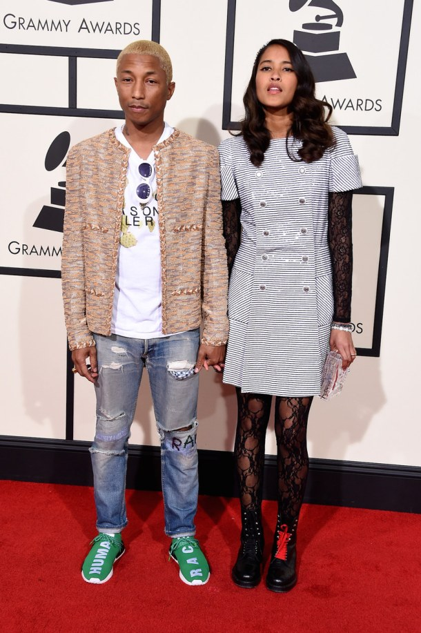 LOS ANGELES, CA - FEBRUARY 15:  Artist Pharrell Williams (L) and Helen Lasichanh  attends The 58th GRAMMY Awards at Staples Center on February 15, 2016 in Los Angeles, California.  (Photo by Steve Granitz/WireImage)