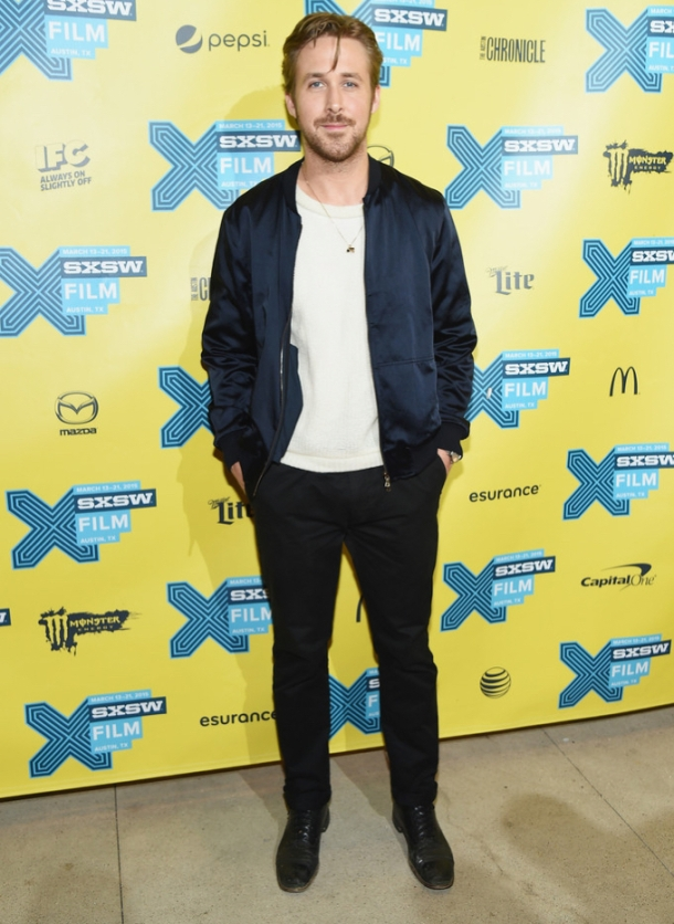 Ryan-Gosling-Lost-River-SXSW-Music-Film-Interactive-Blue-Bomber-Jacket-2015-Photo